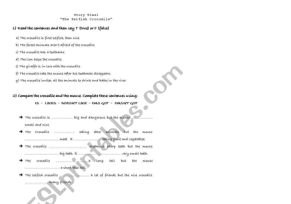 English Worksheets The Selfish Crocodile