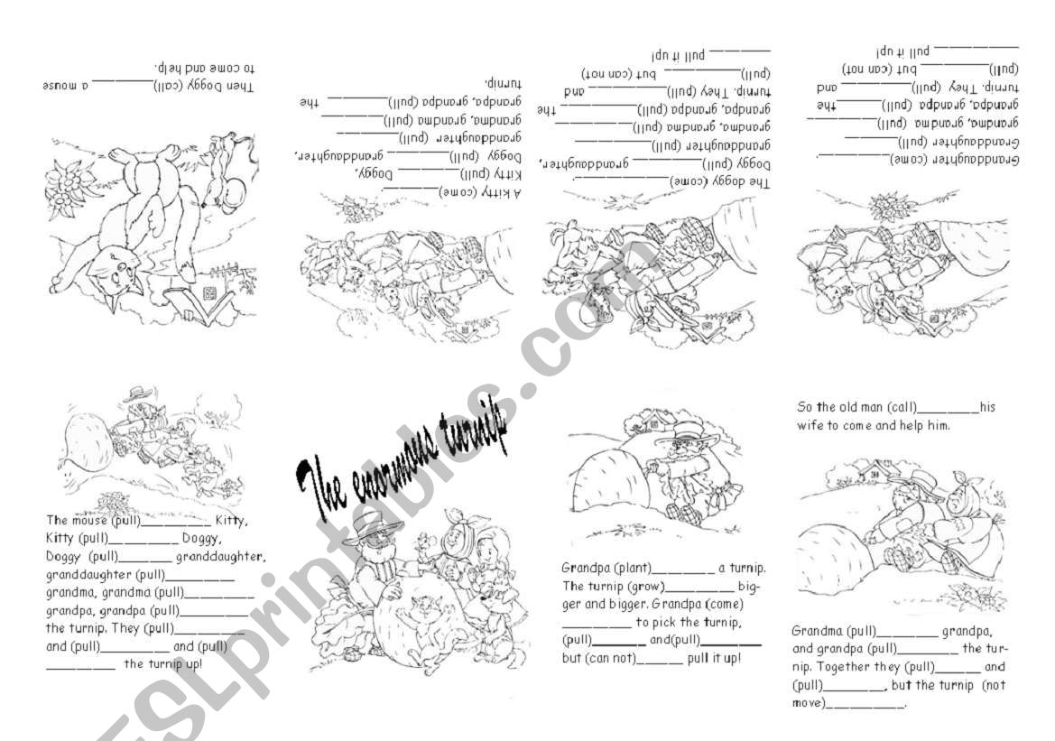 English Worksheets Minibook The Enormous Turnip