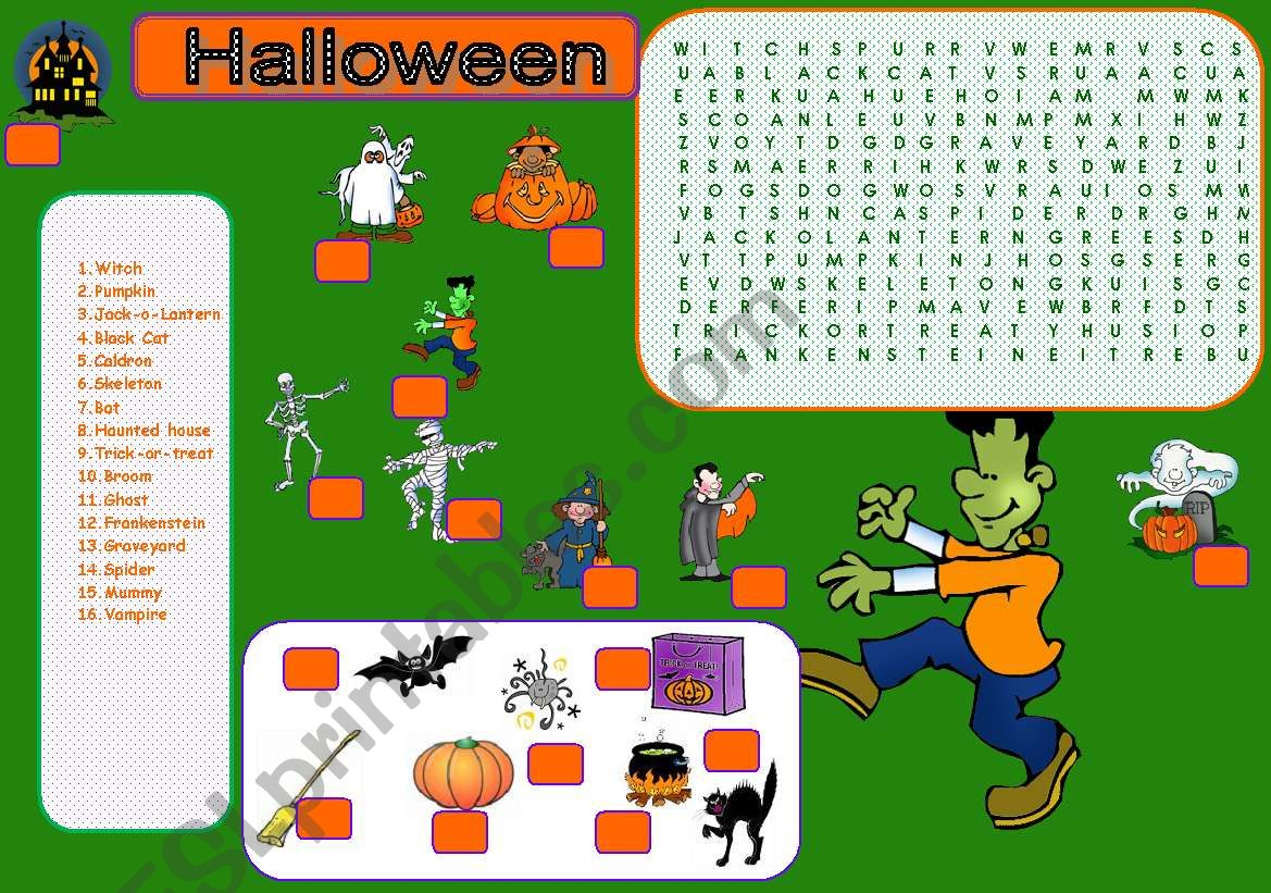Halloween Matching Amp Wordsearch