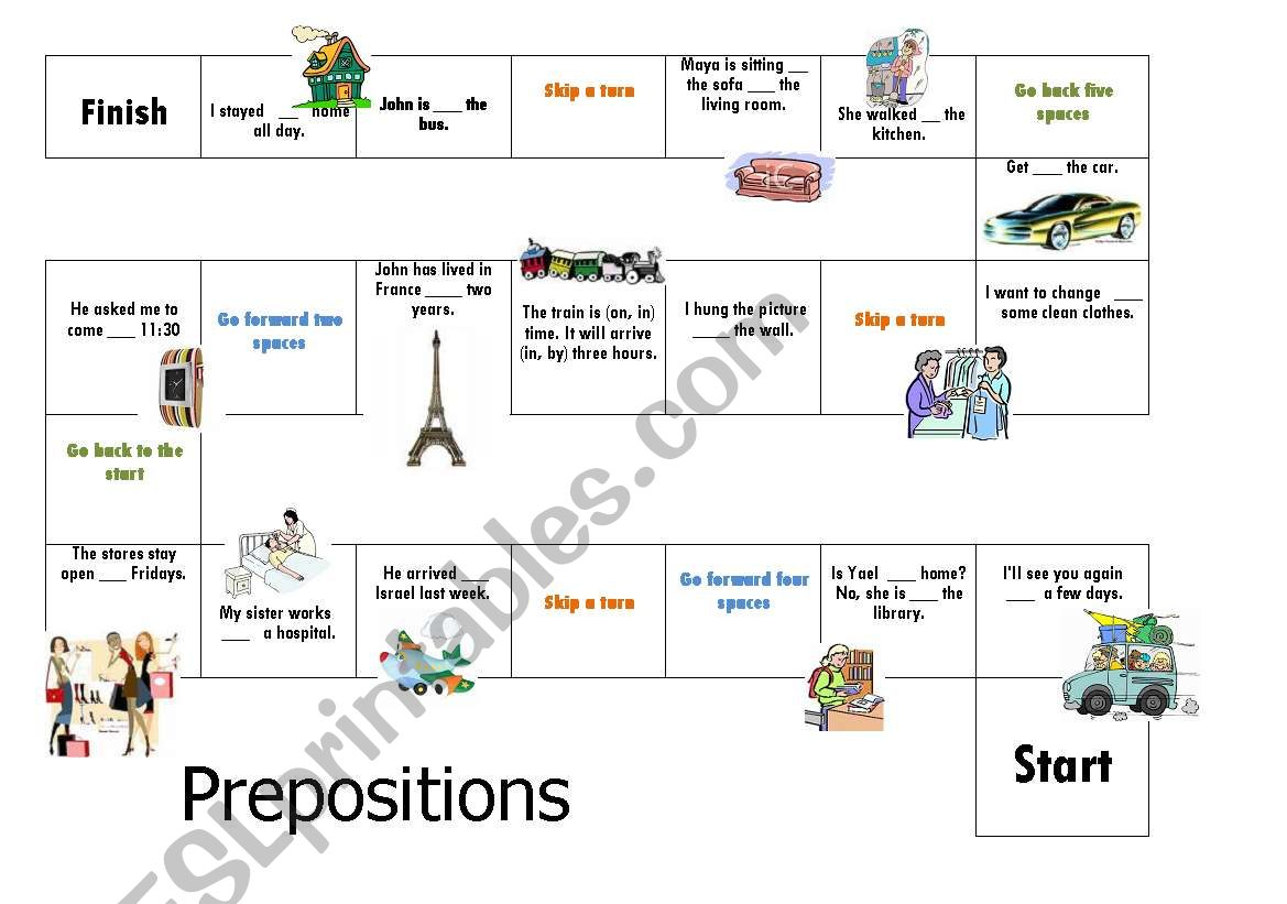 Board Game Prepositions