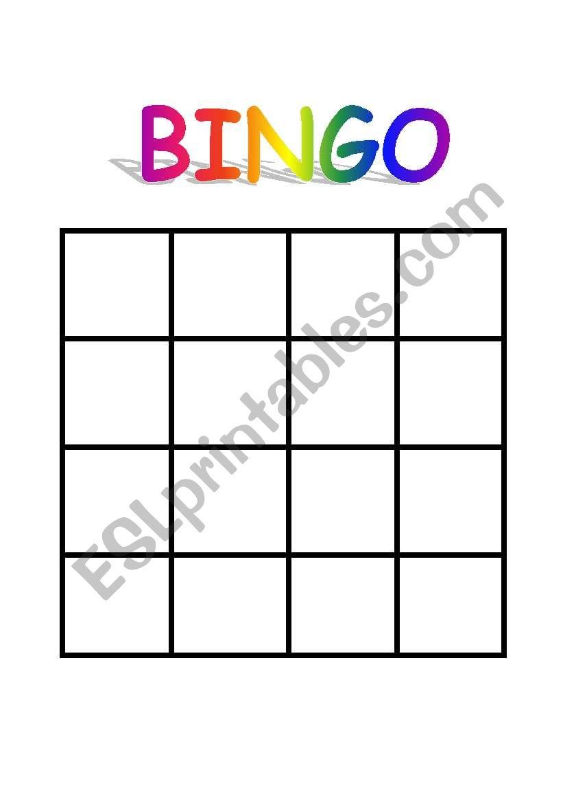 English Worksheets Bingo Sheet