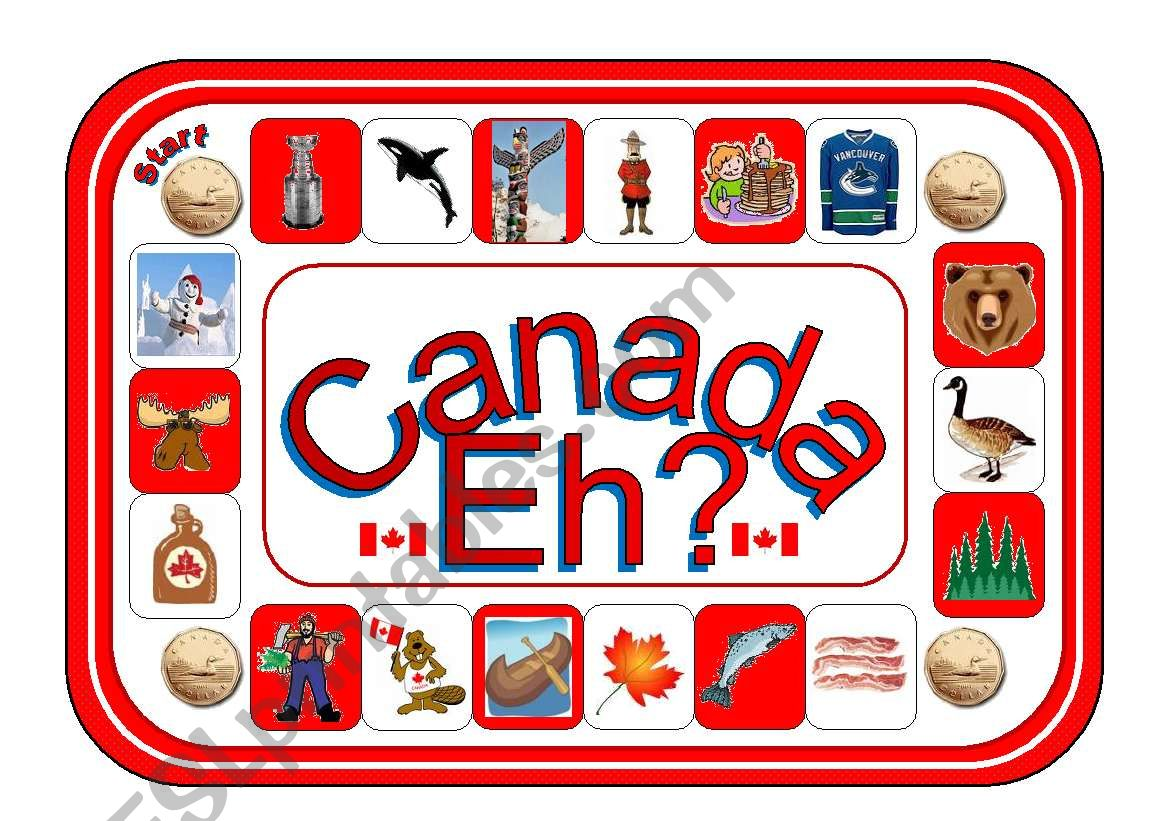 Canada Eh Board Game Greyscale Version Included