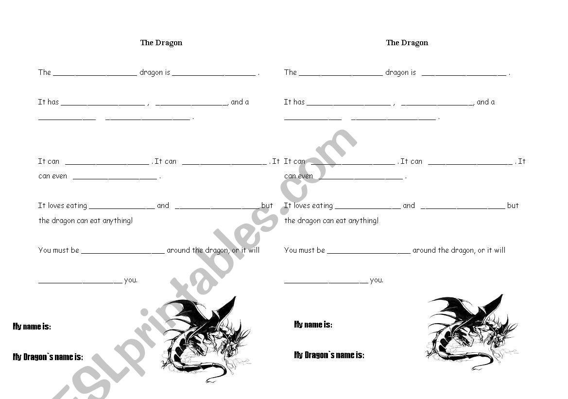 English Worksheets The Dragon Madlib