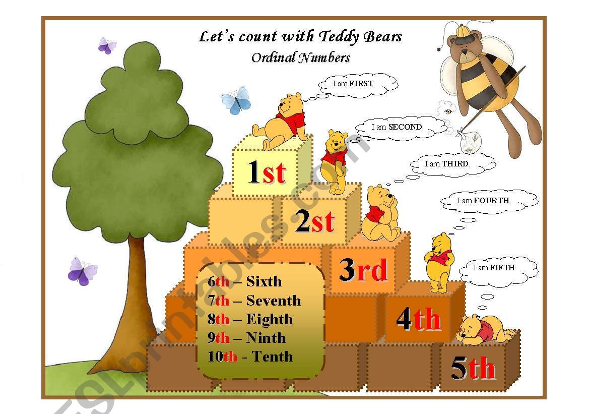 Let S Count With Teddy Bears Ordinal Numbers