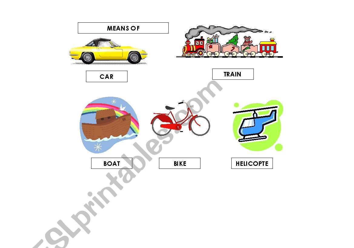 English Worksheets Means Of Transportation