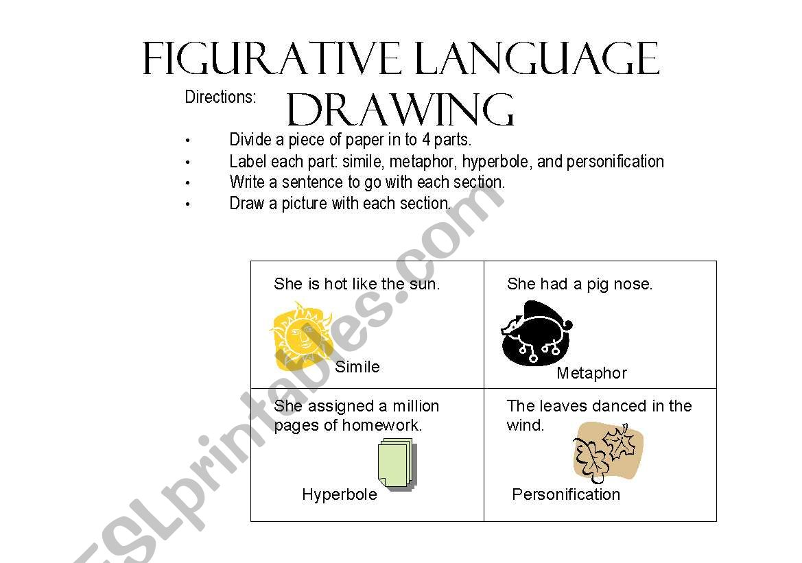 English Worksheets Figurative Language Drawing