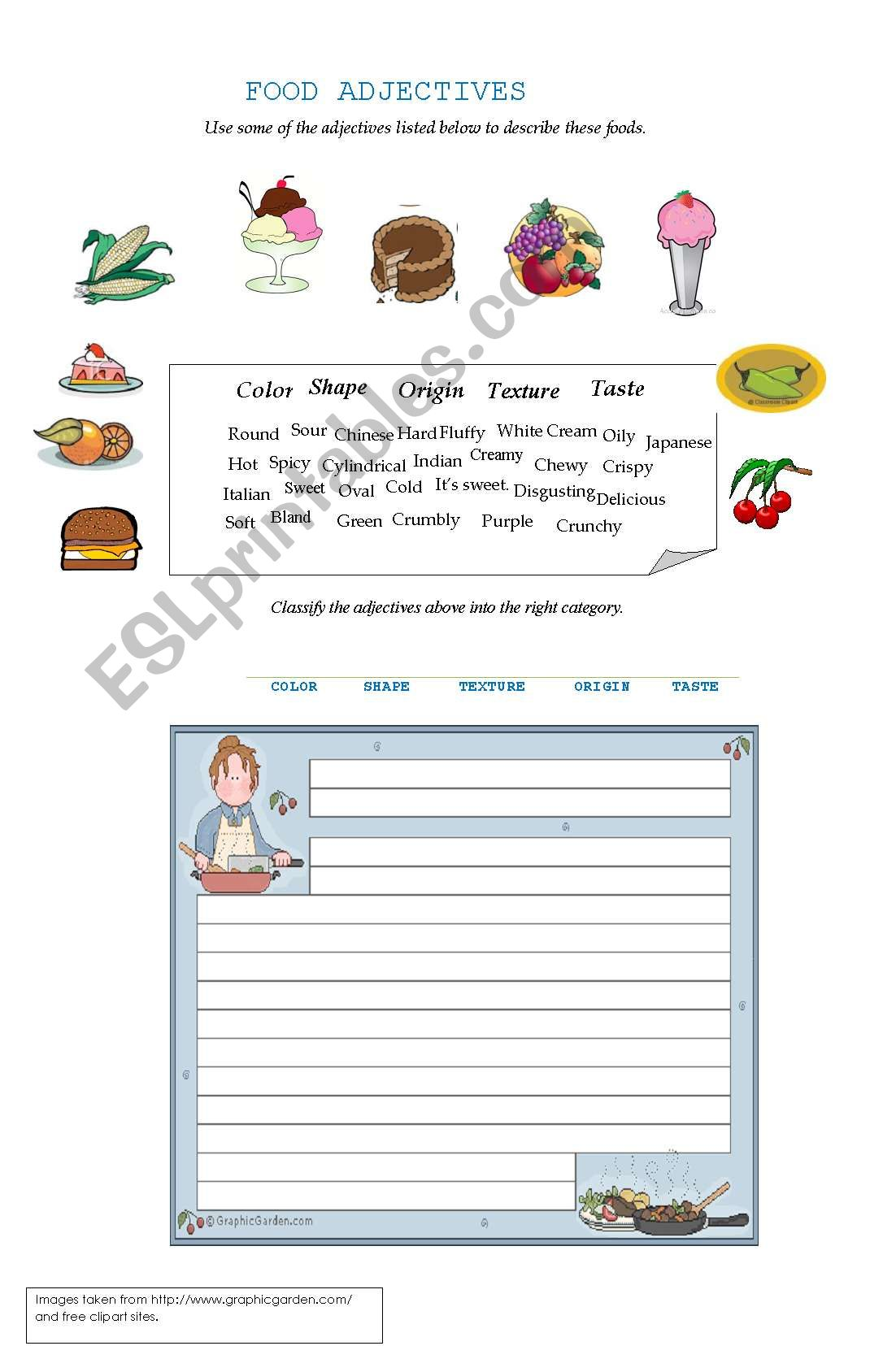 English Worksheets Food Adjectives