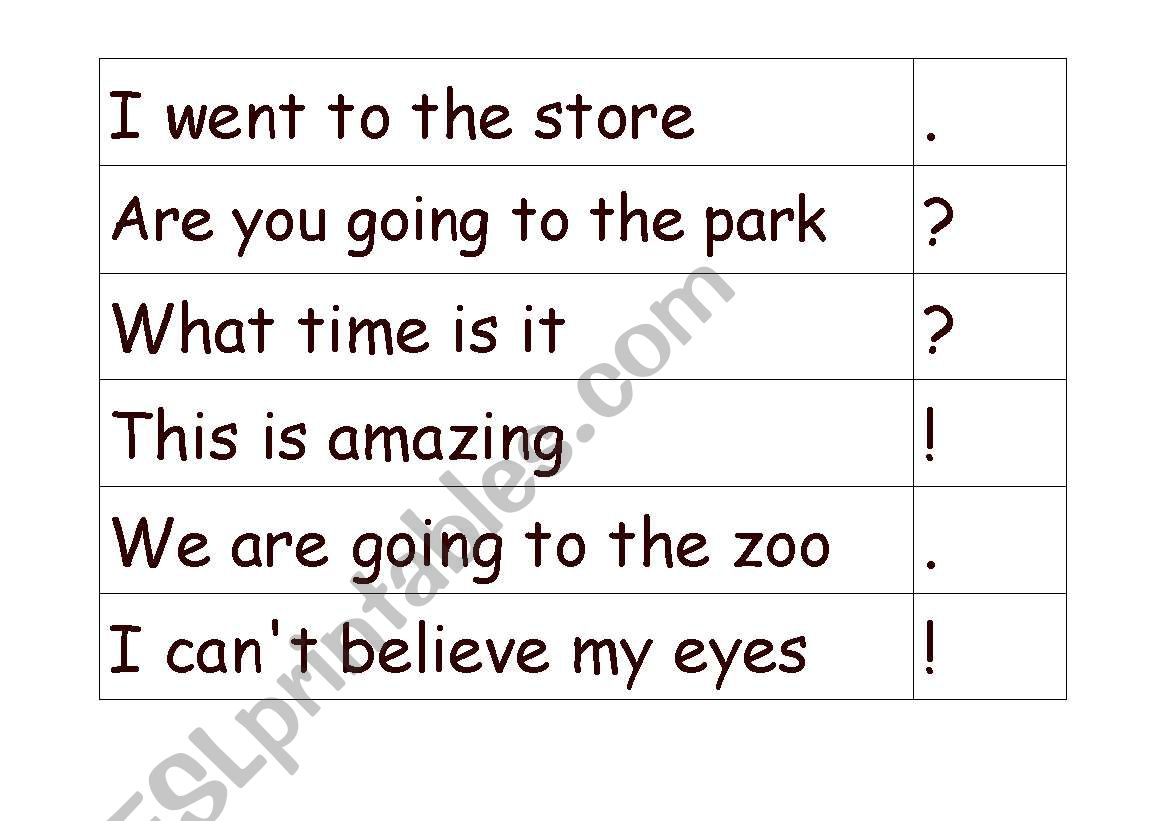 English Worksheets Punctuation Match