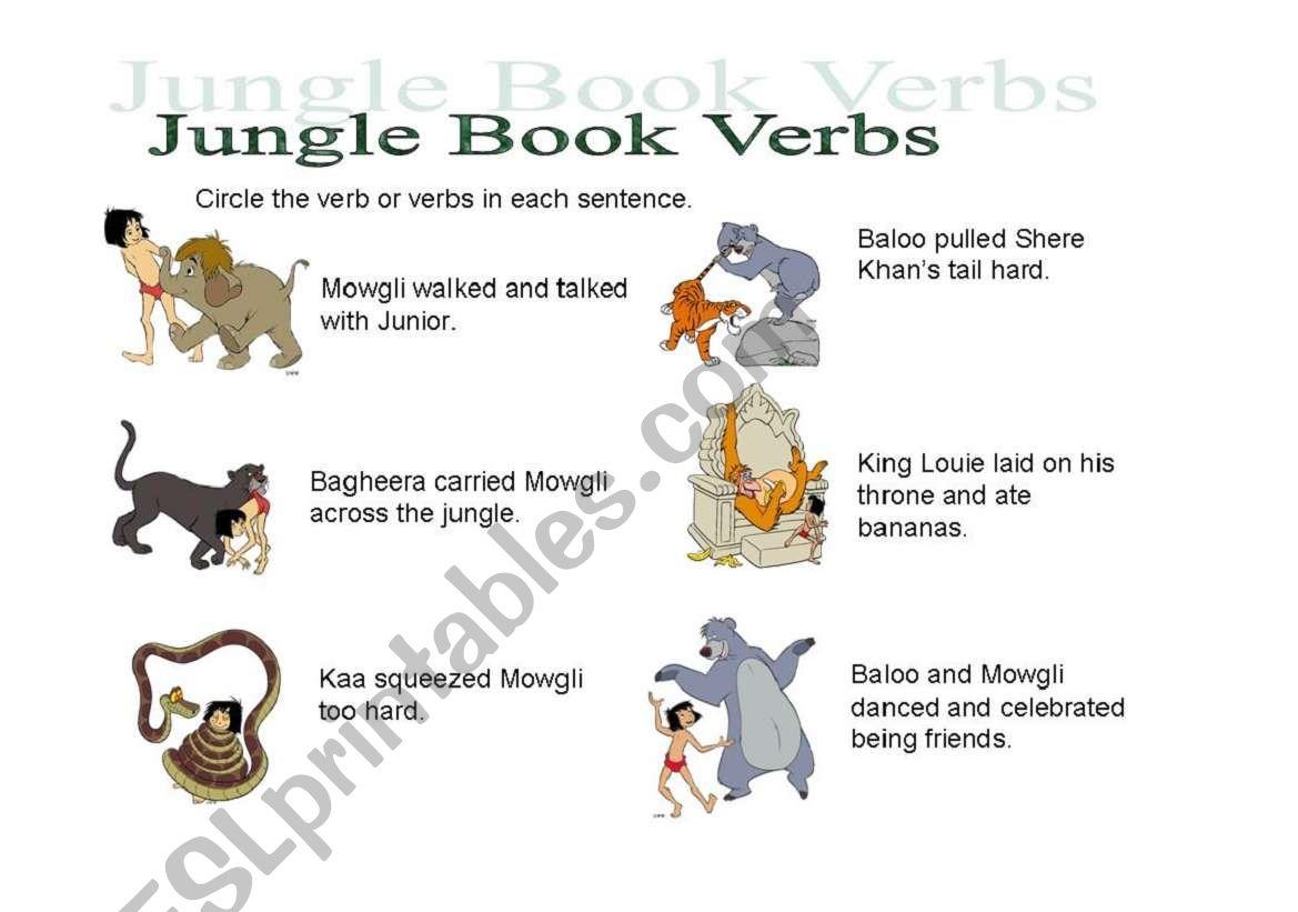 English Worksheets Jungle Book Verbs