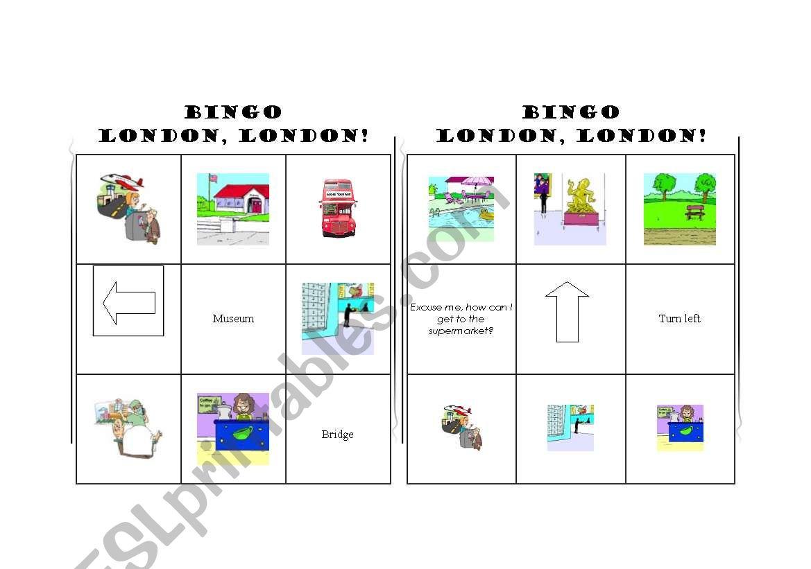 English Worksheets London Bingo