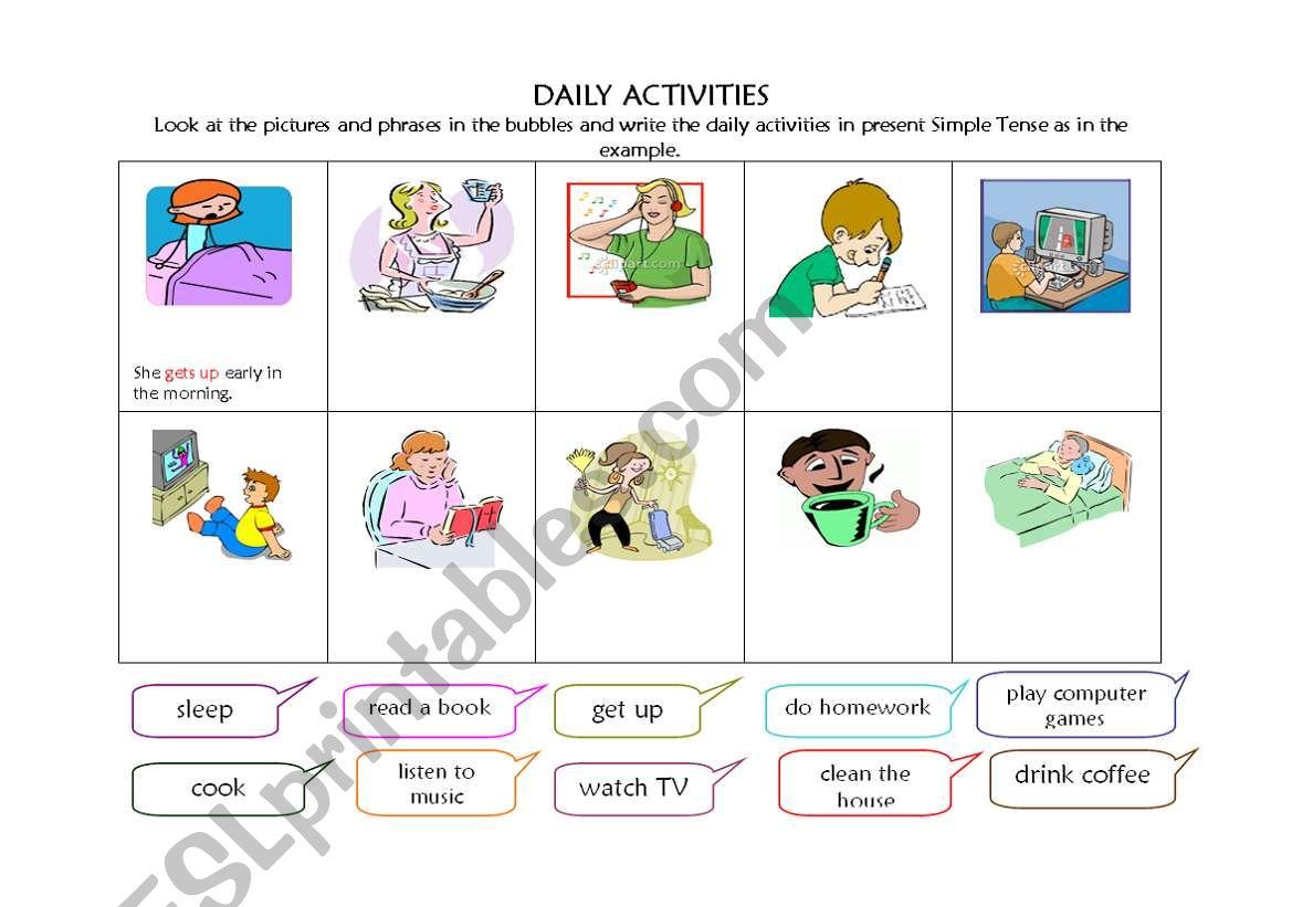 English Worksheets Daily Activities