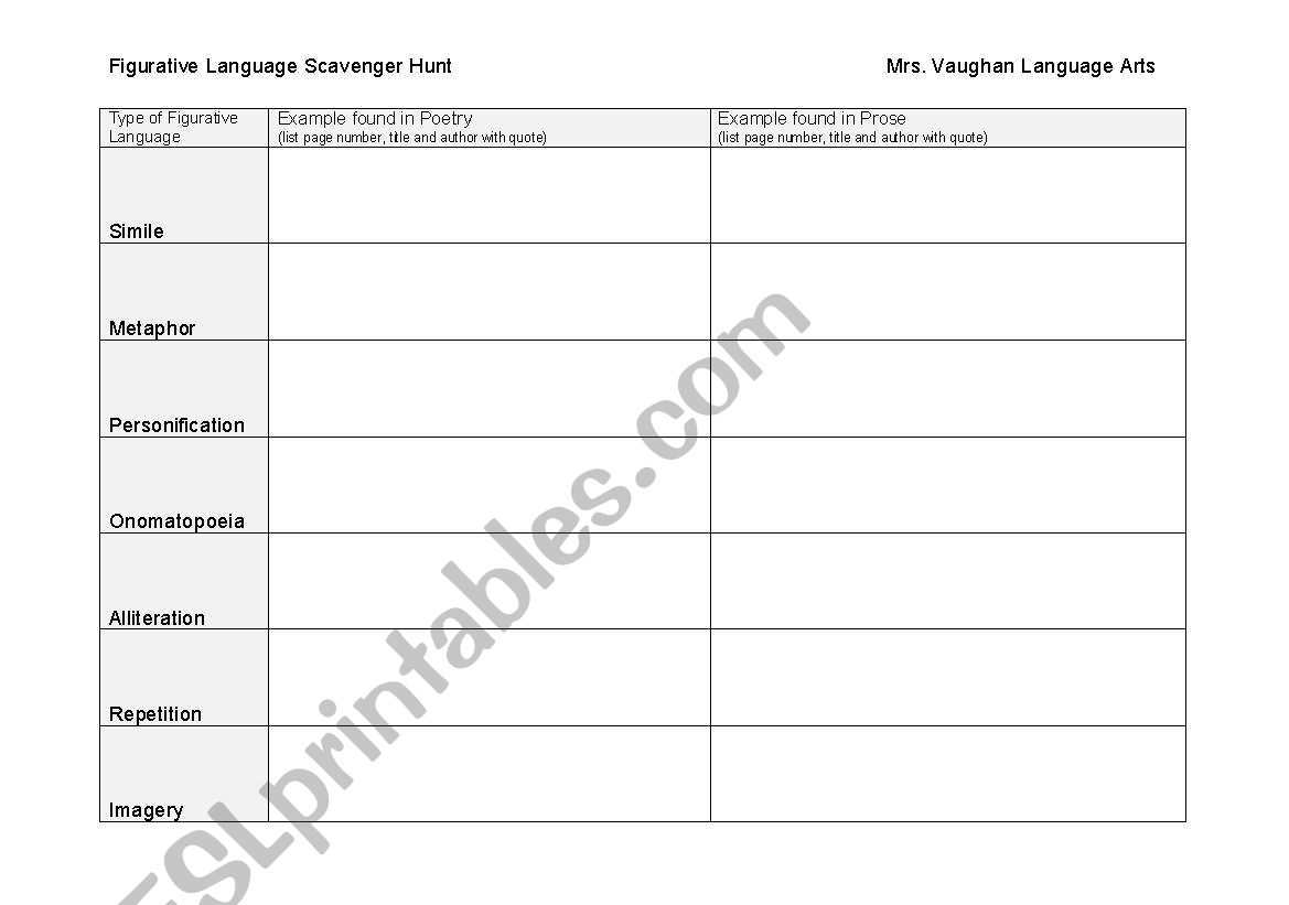 English Worksheets Figurative Language Scavenger Hunt