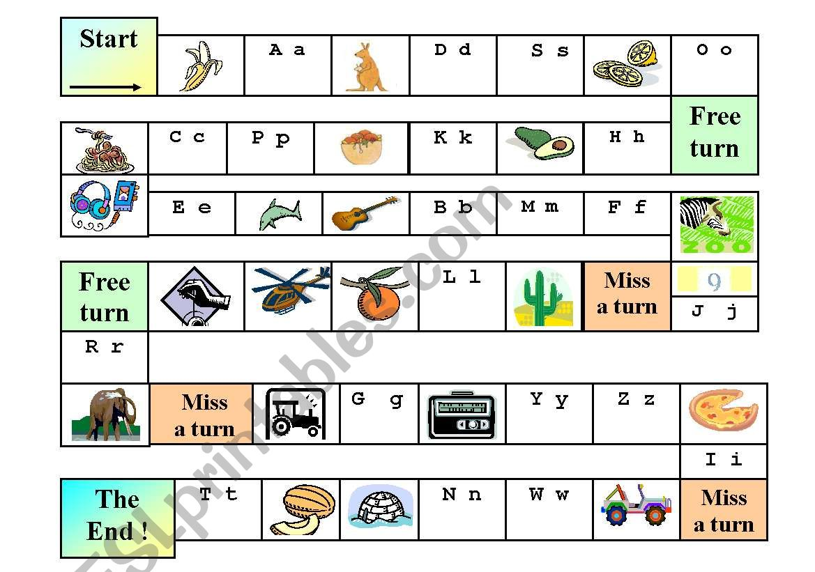 English Worksheets Abc Cognates Board Game