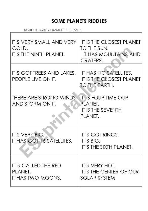 some planets riddles - ESL worksheet by cittaalta