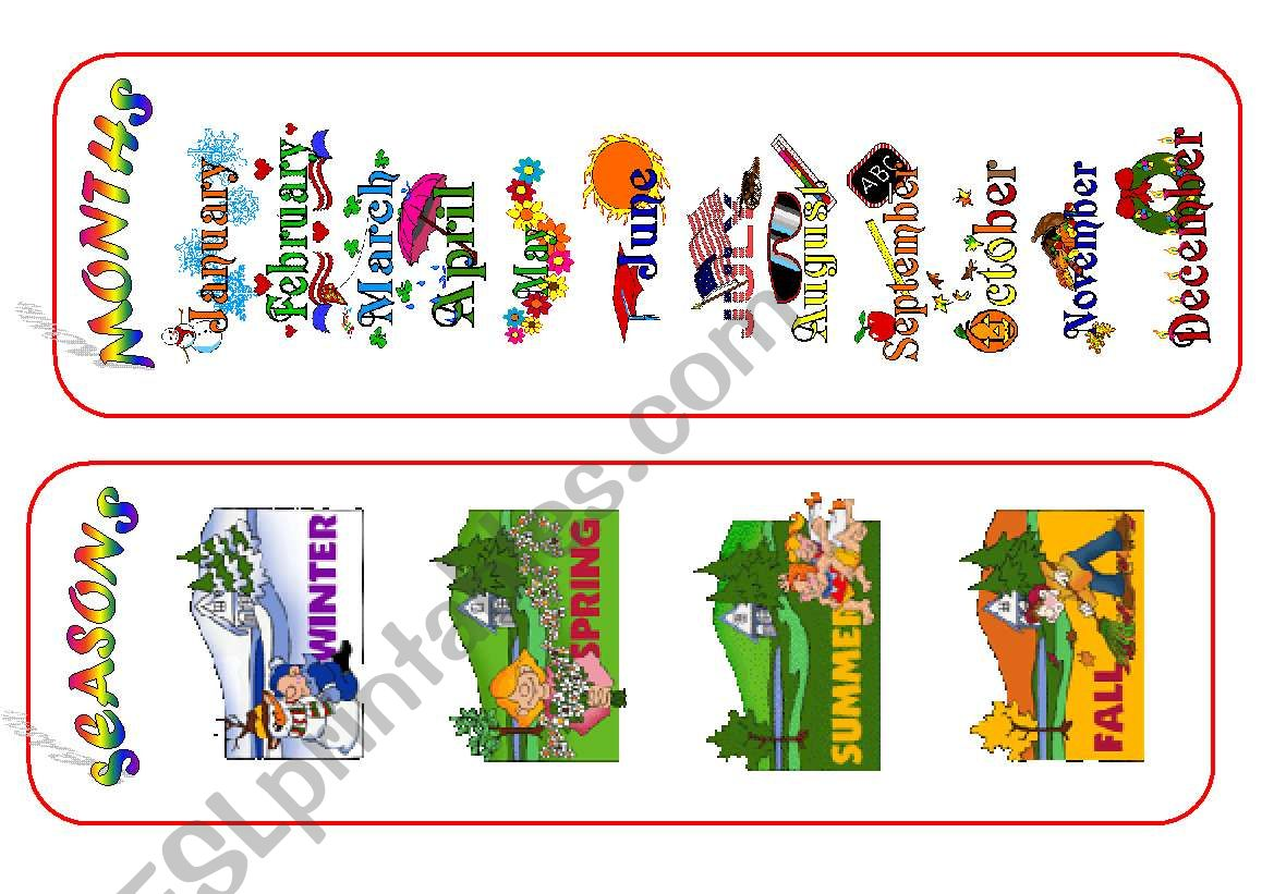 Months And Seasons Bookmarks