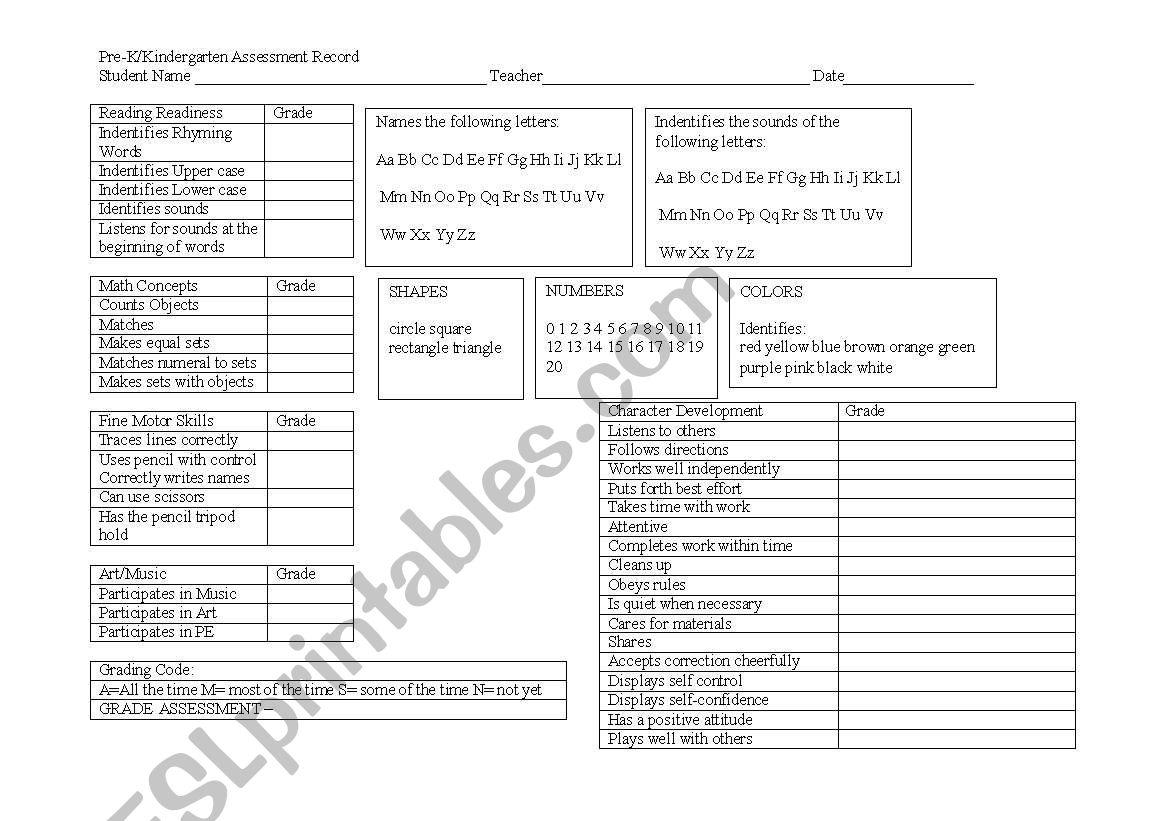 English Worksheets Prek Kindergarten Assessment Chart Report