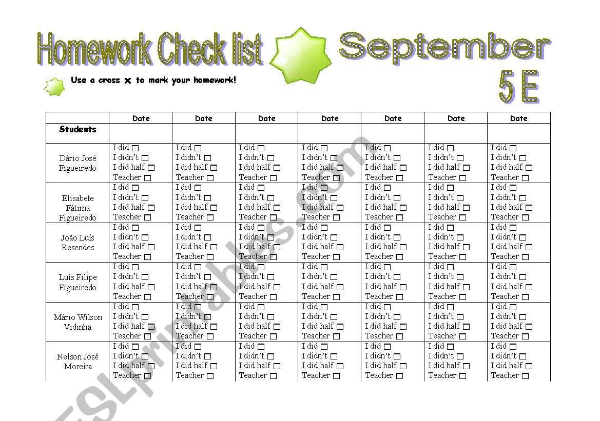 Homework Check List