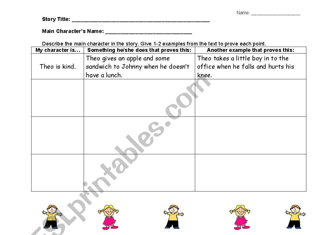 English Worksheets Describing Characters