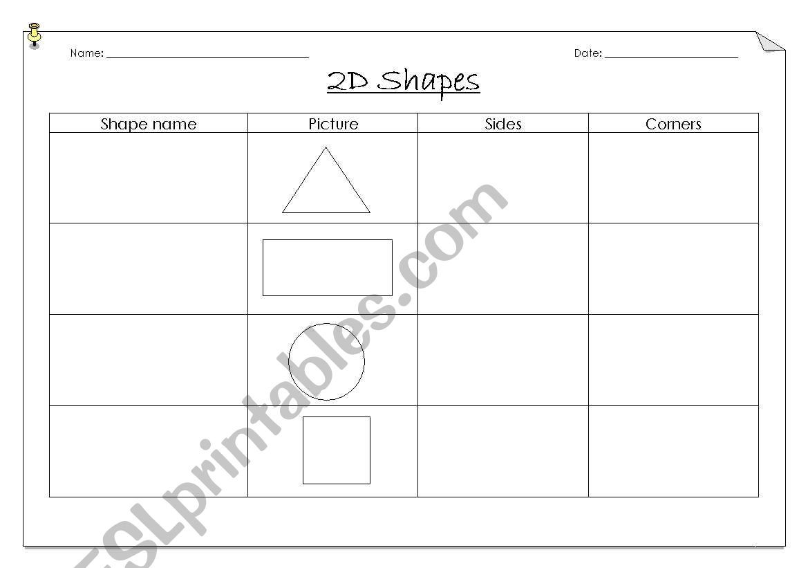 English Worksheets 2d Shape Attributes