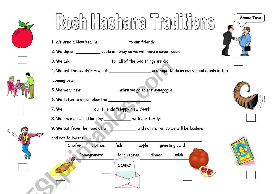 English Worksheets The Jewish New Year Traditions
