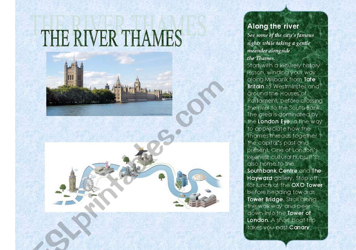 English Worksheets The River Thames