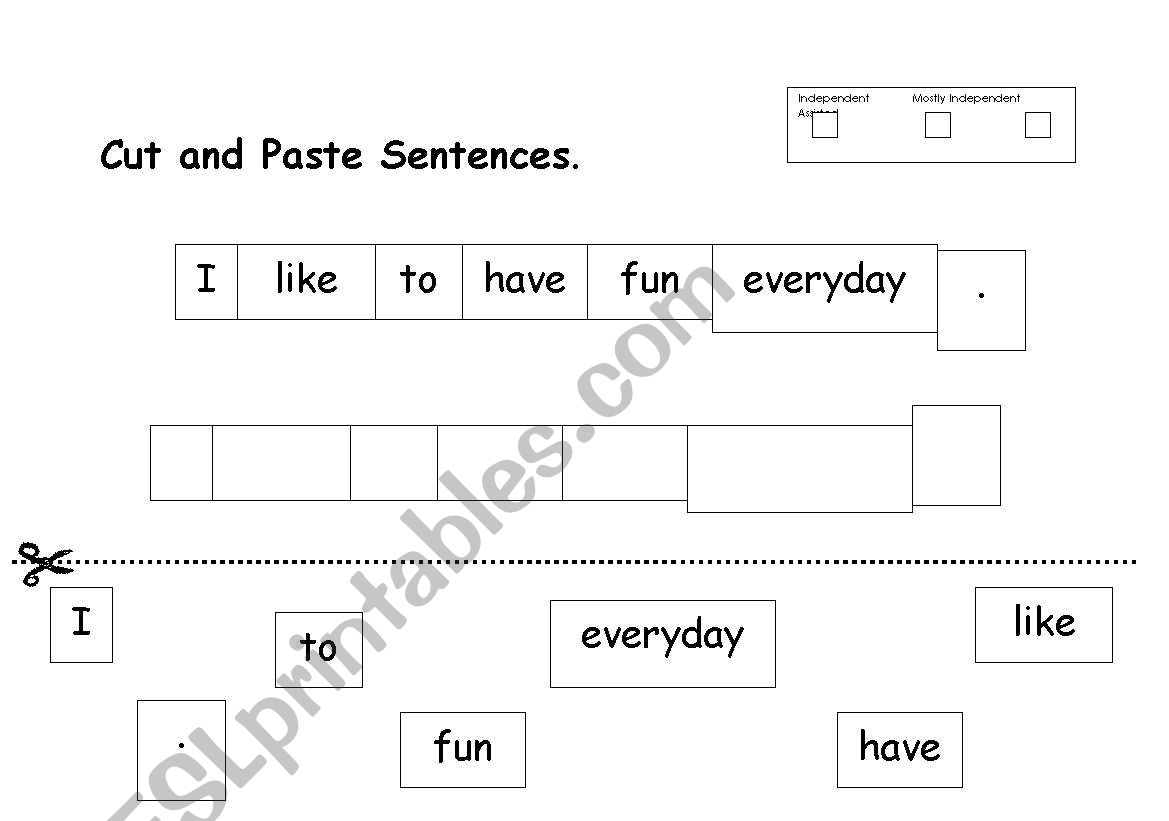 English Worksheets Cut And Paste Sentence Words