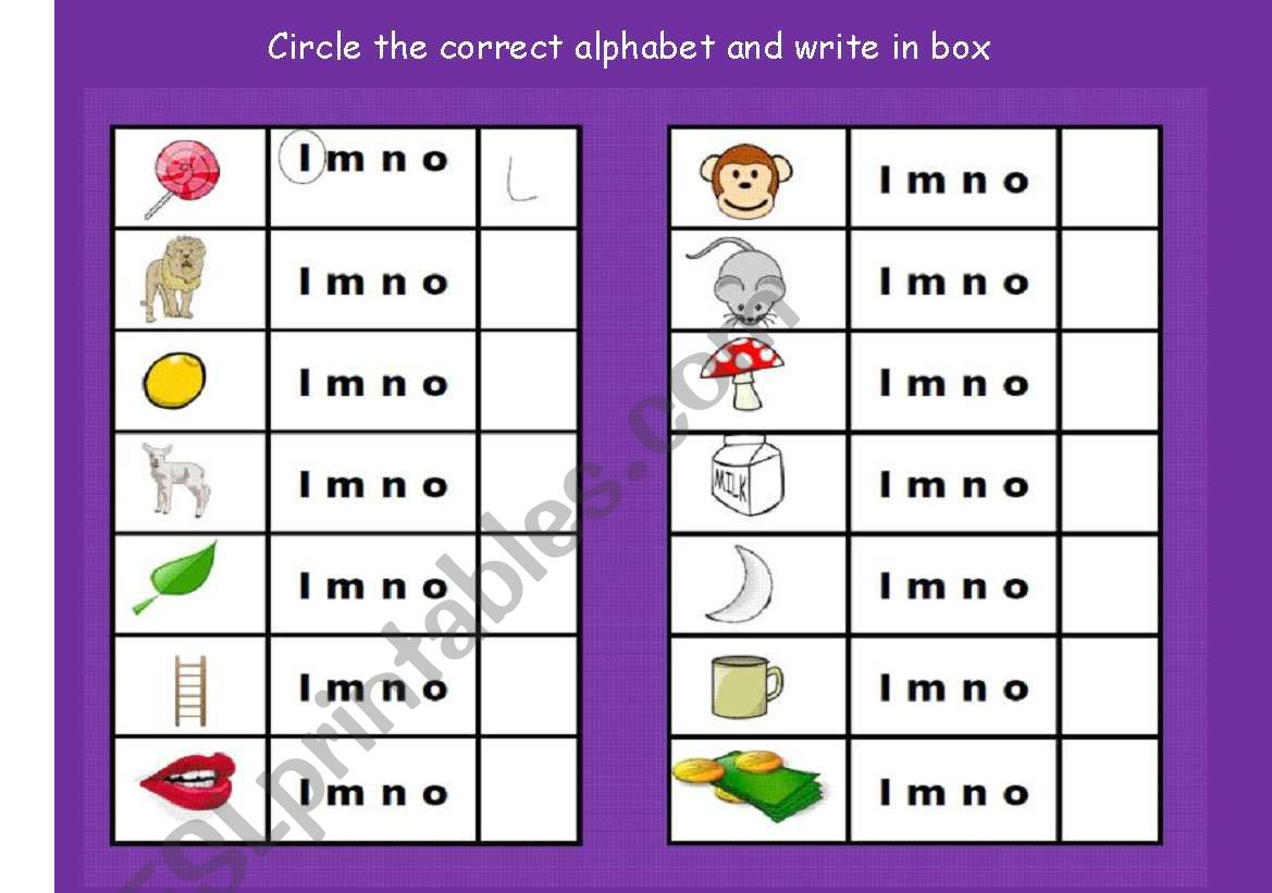English Worksheets Circle The Correct Alphabet