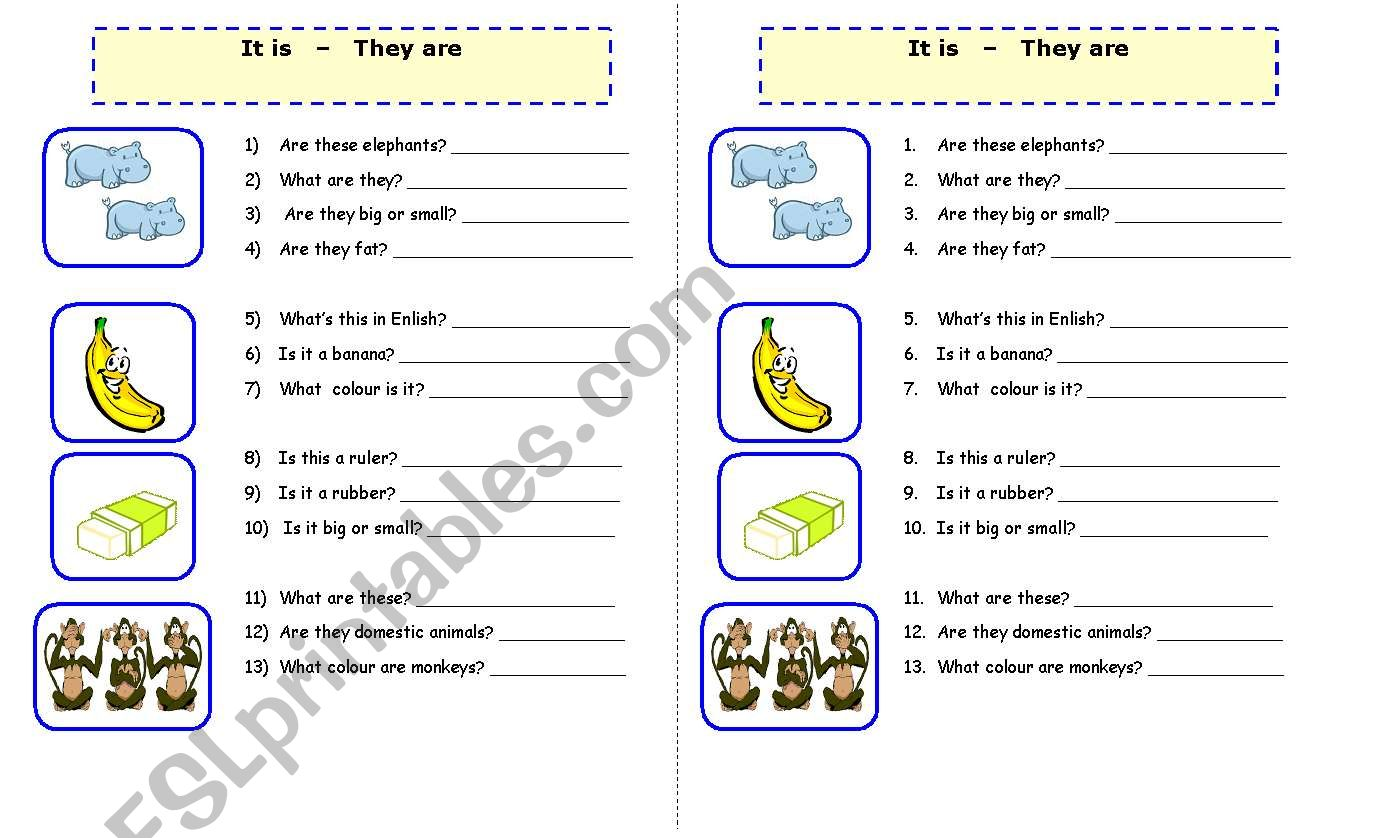 Worksheet For It Is They Are