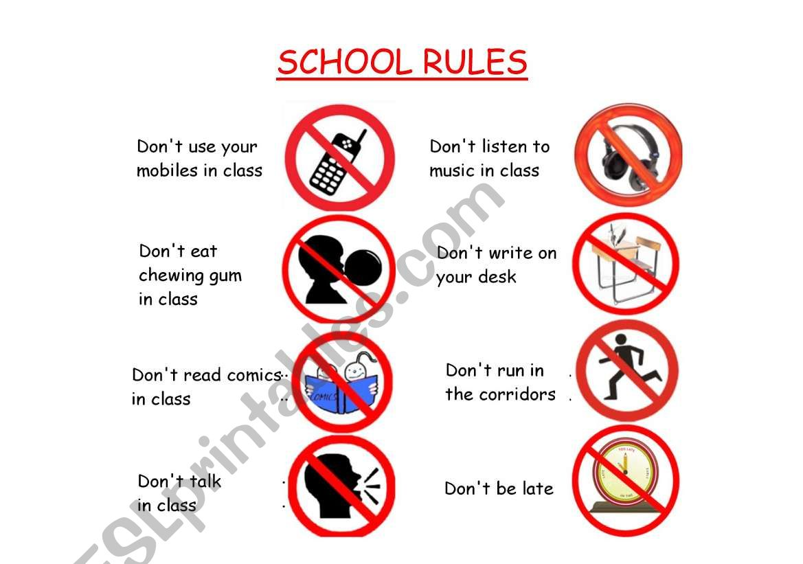 English Worksheets School Rules