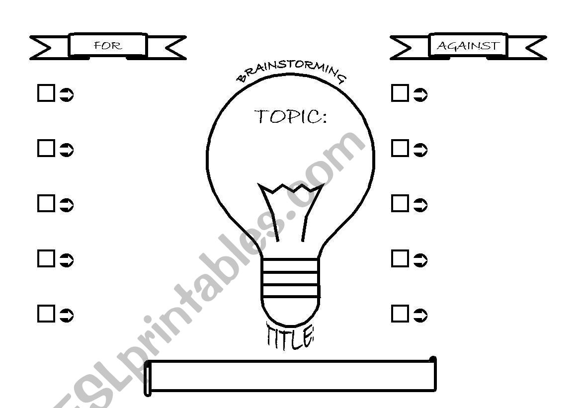 English Worksheets Brainstorming For Amp Against Essays
