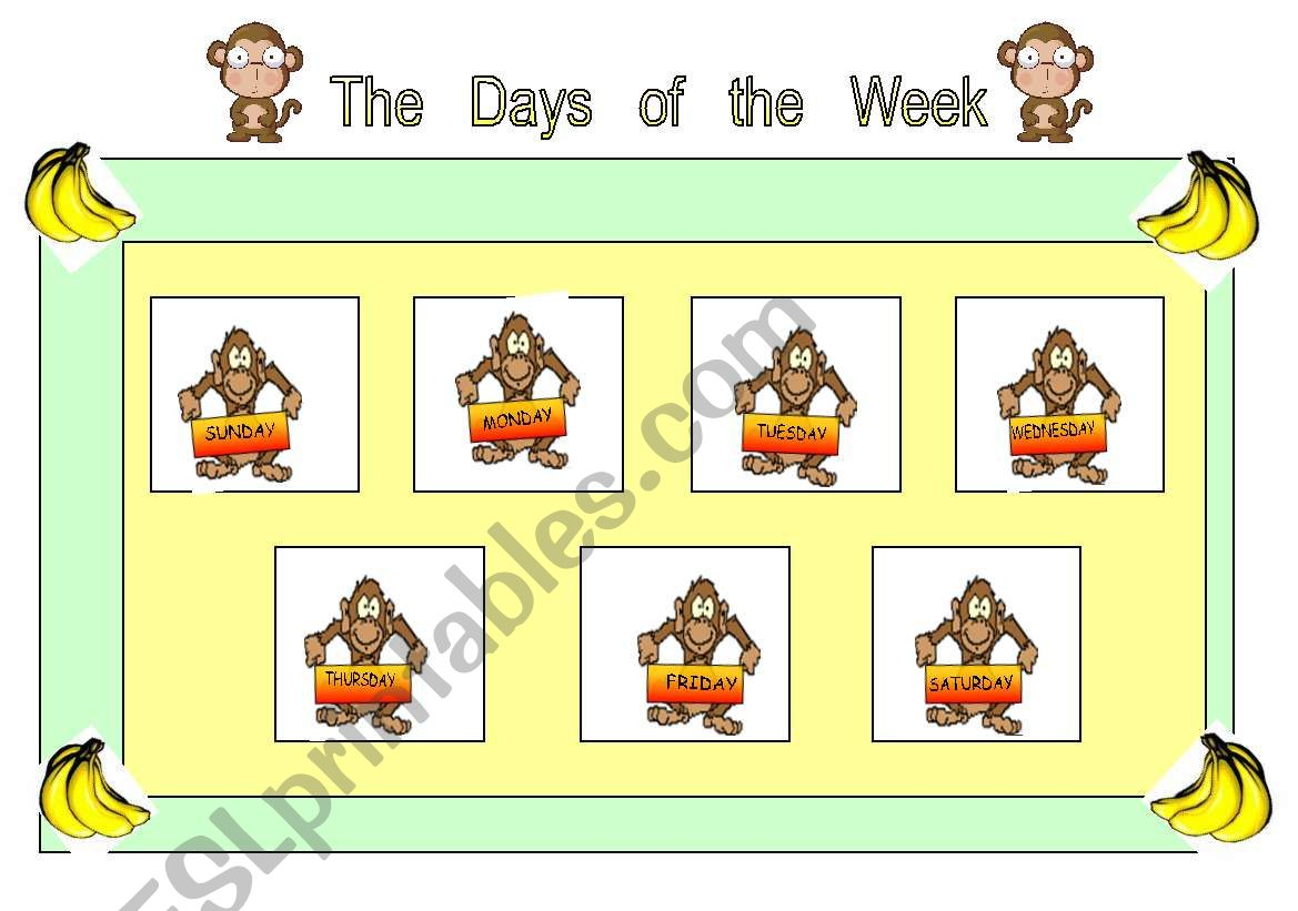 English Worksheets 2o Sheet Days Of The Week Cards For