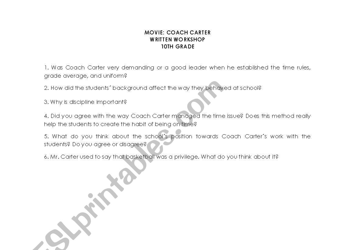 Coach Carter Questionnaire
