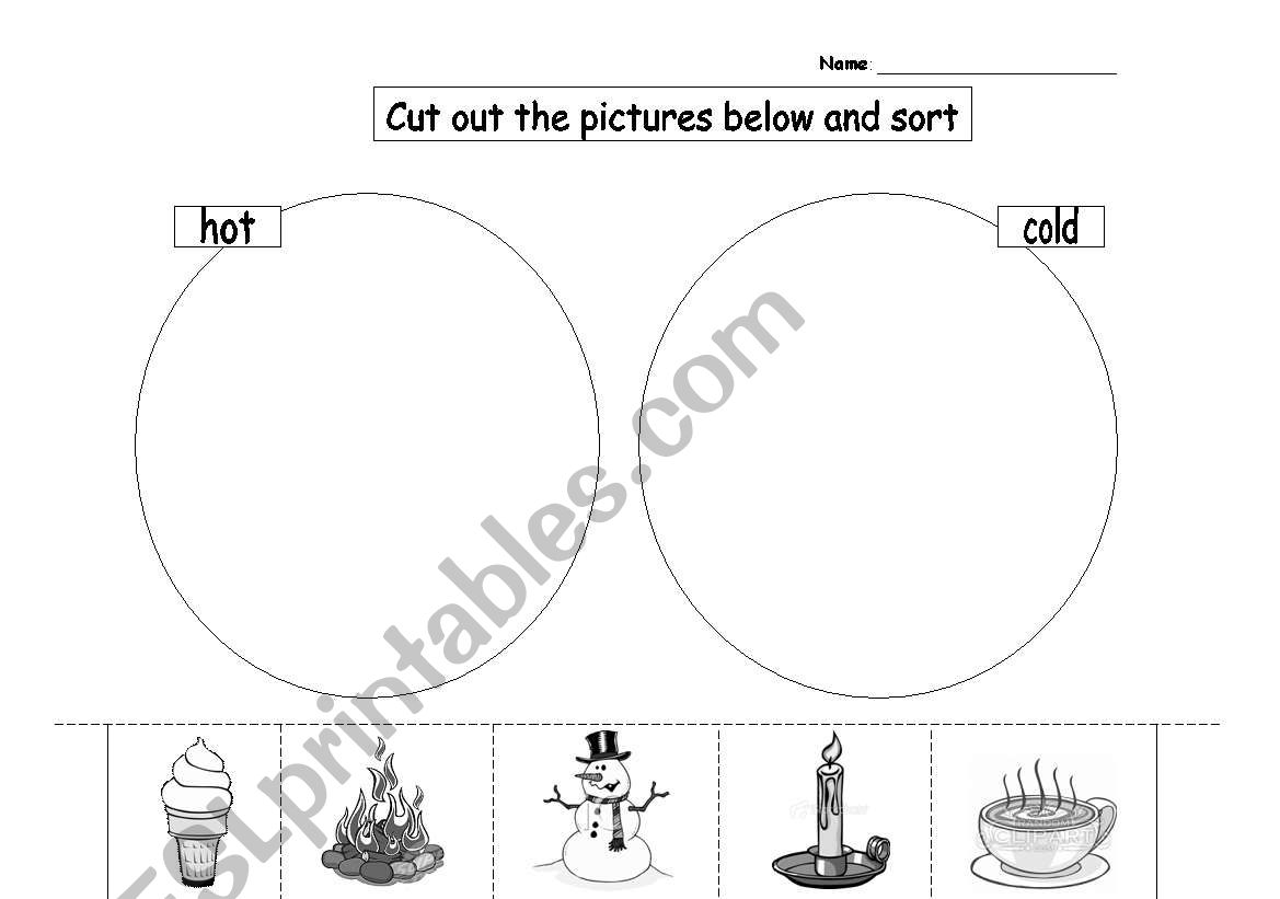 English Worksheets Hot And Cold Picture Sort