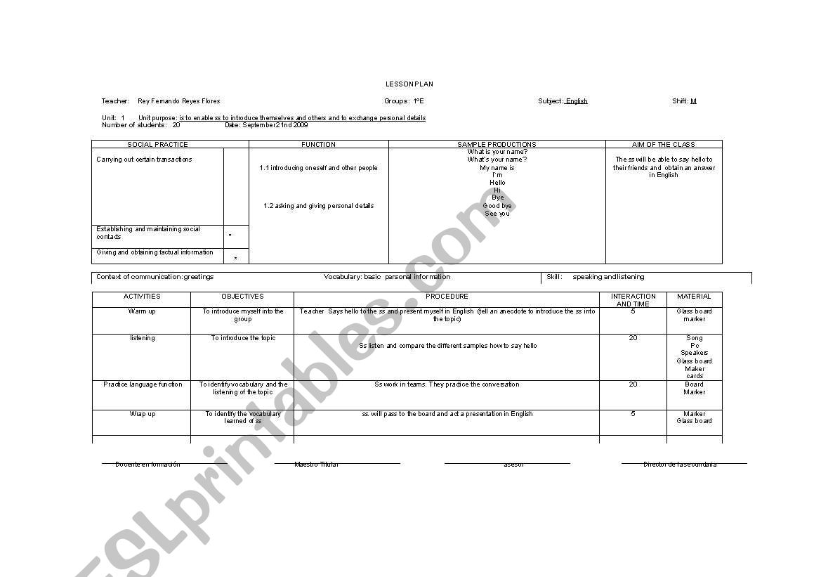 English Worksheets Lesson Plan Personal Information