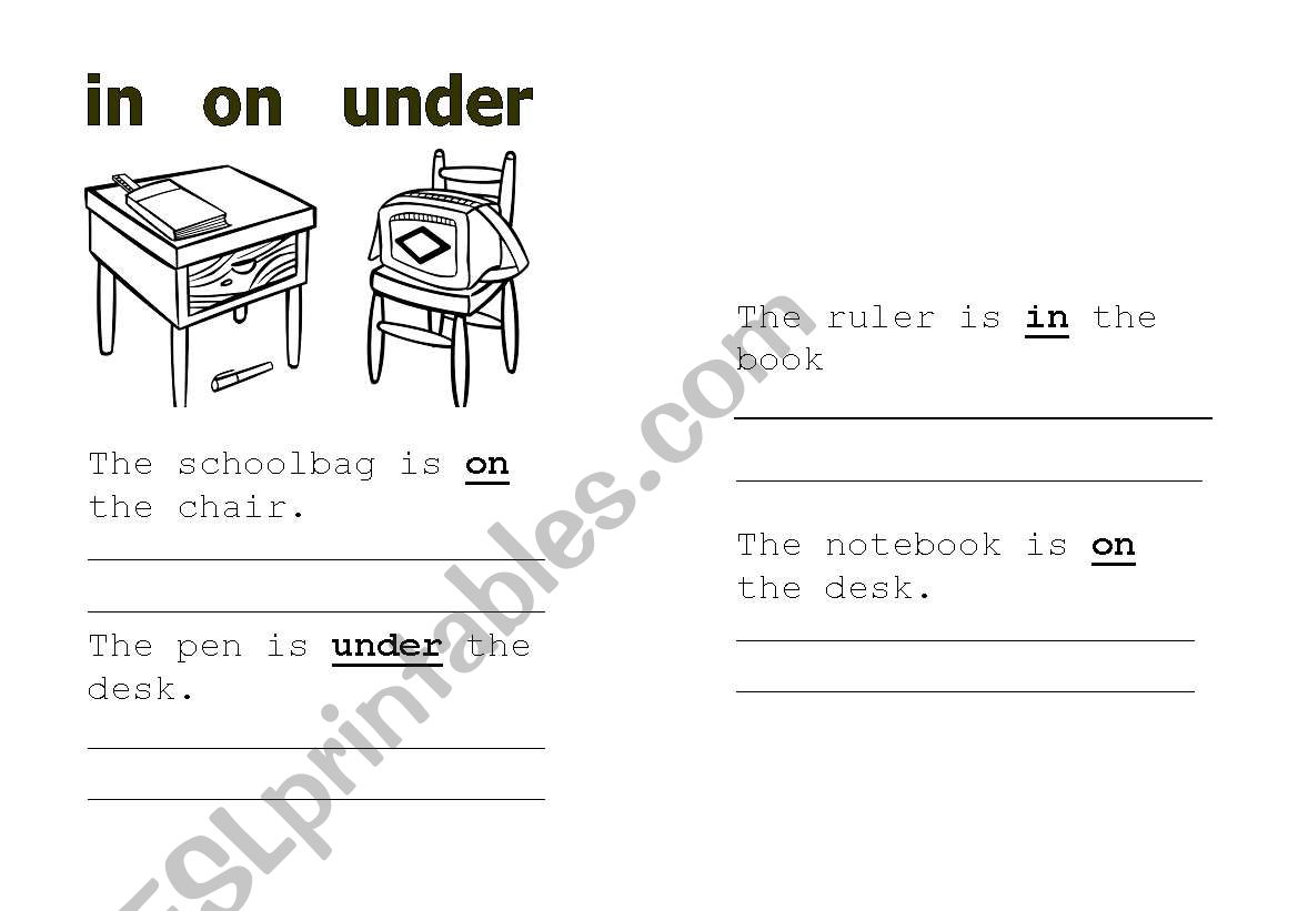 Prepositions In On Under