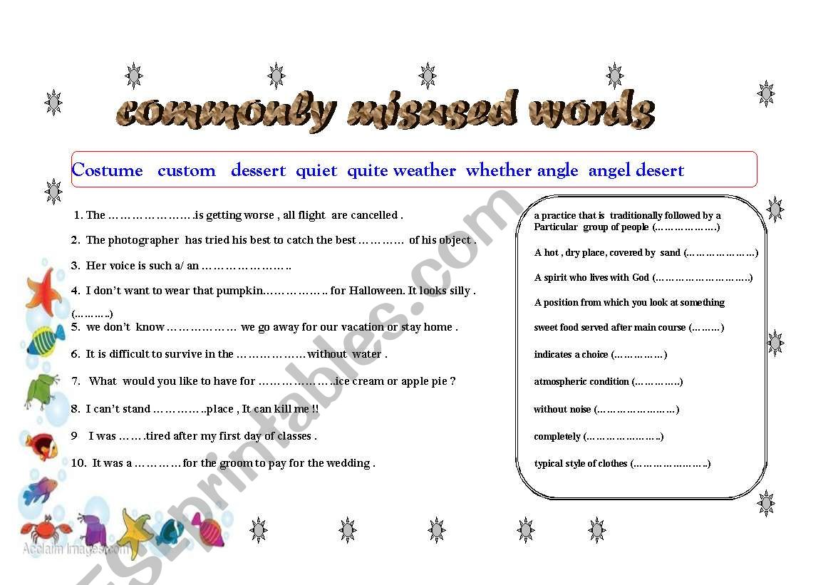English Worksheets Commonly Misused Words