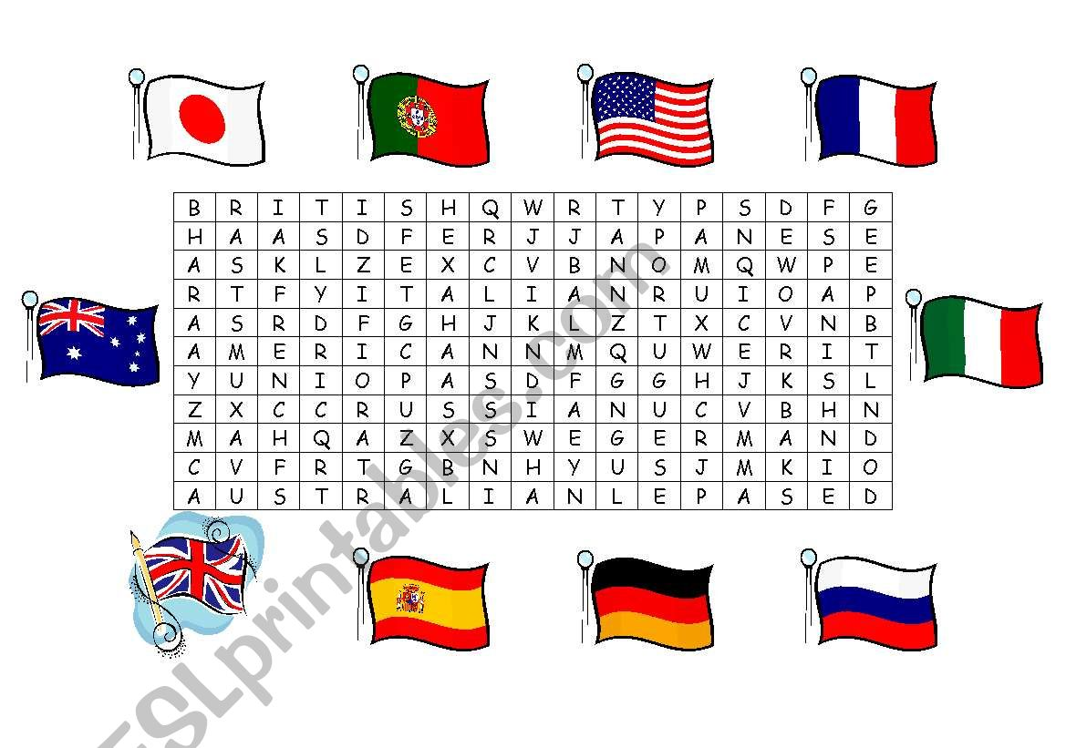 Countries Nationalities Flags Wordsearch