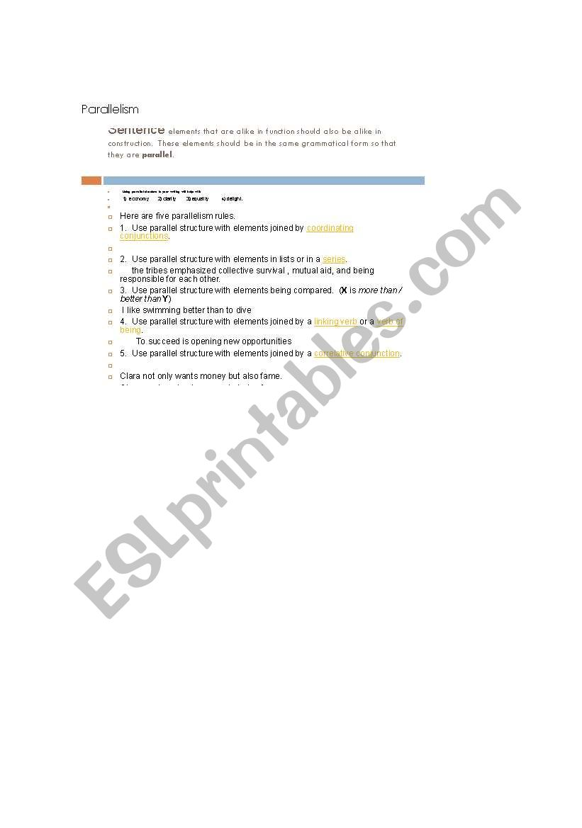 English Worksheets Parallelism