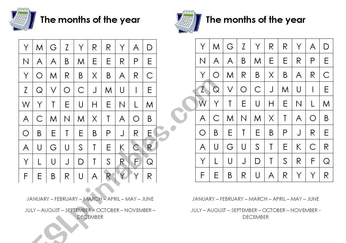 The Months Of The Year Word Search