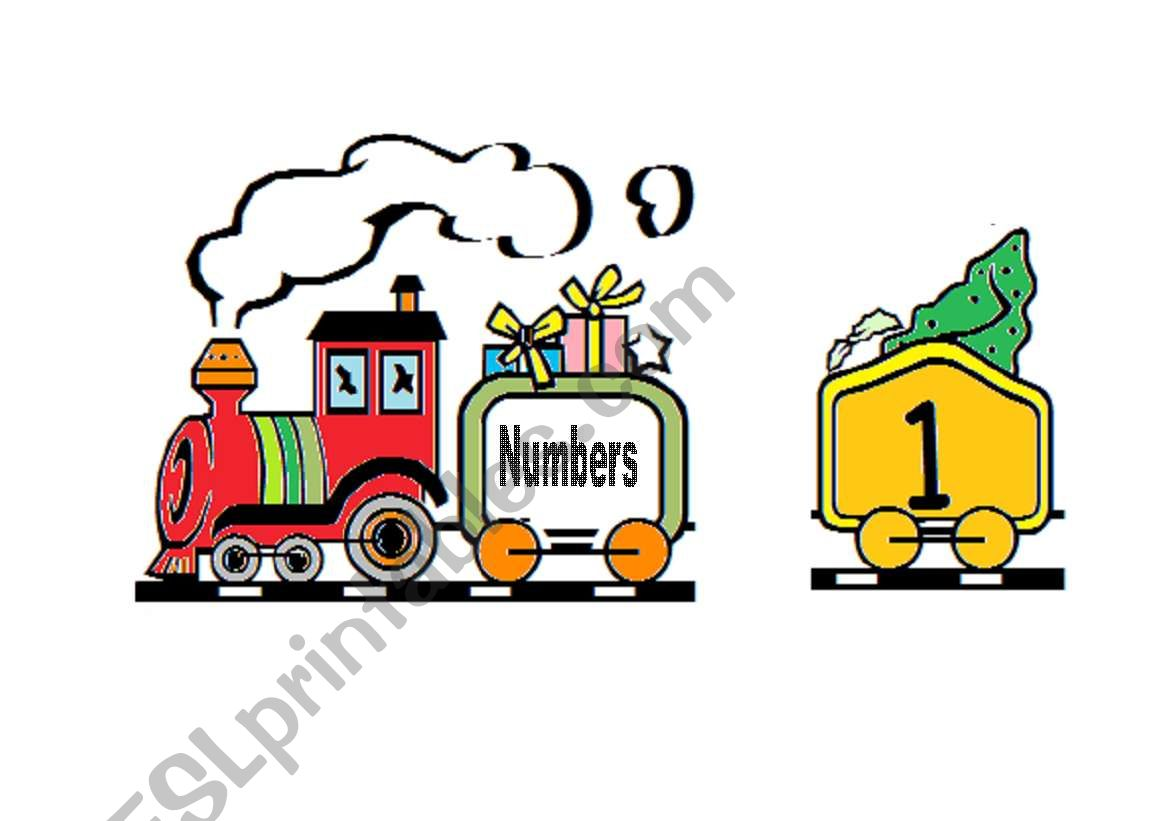 Train Numbers From 1 To 9 Word Flashcards