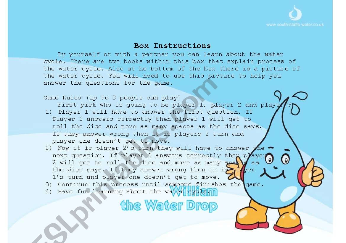 Water Cycle Game Instructions