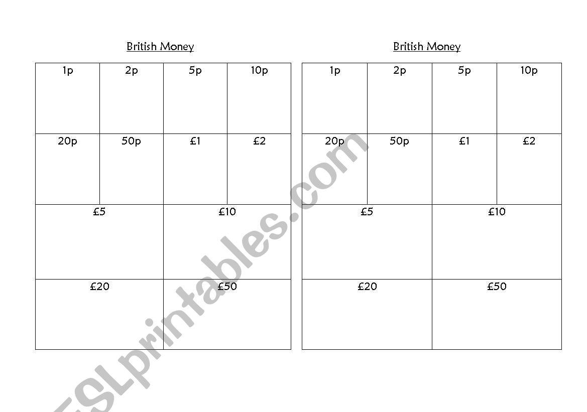 English Worksheets British Money Rubbing