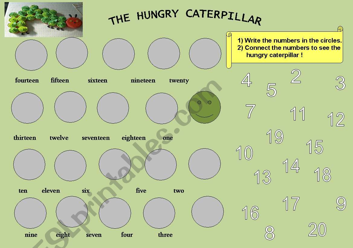 English Worksheets Count From 1 To 20 With The Hungry