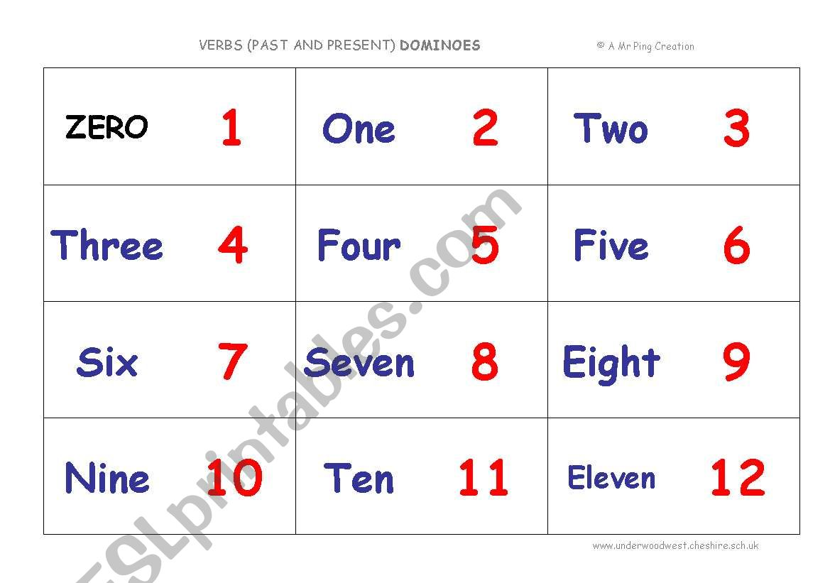 Numbers 0 20 Dominoes