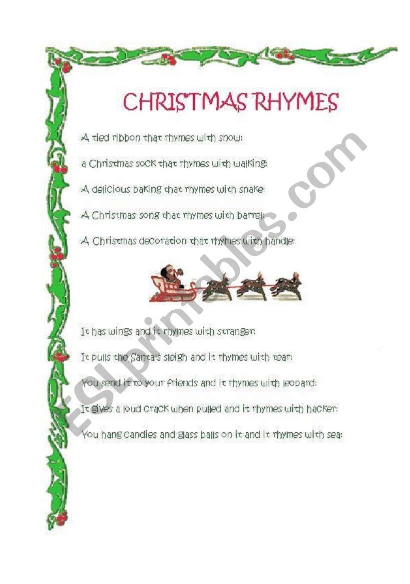 Xmas Rhymes ESL Worksheet By Eolia