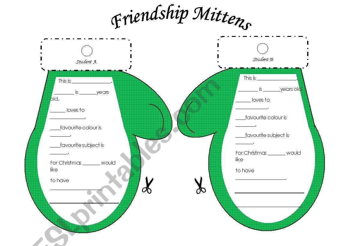 Christmas Friendship Mittens Student Interview Activity