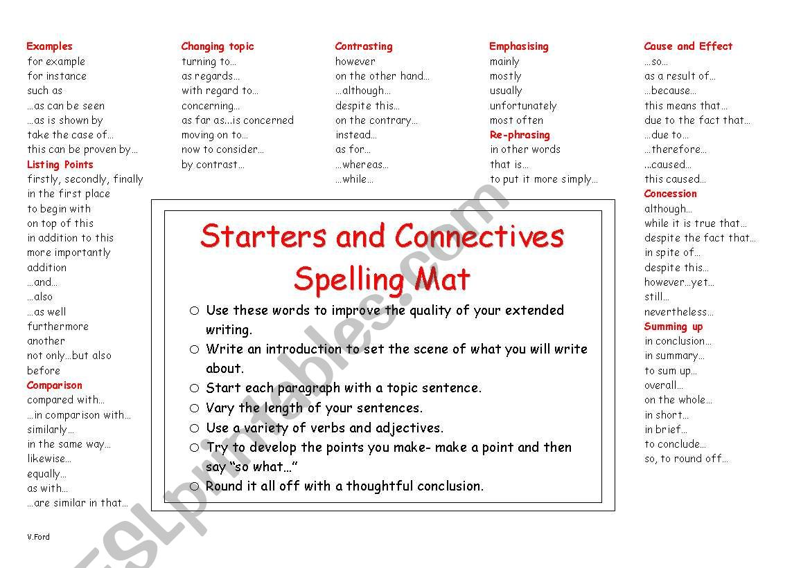 English Worksheets Starters And Connectives Spelling Mat