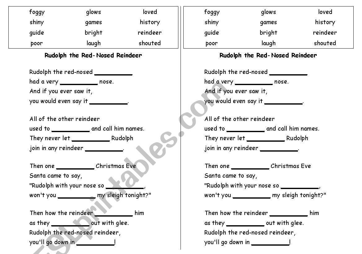 English Worksheets Rudolph Cloze And Madlib