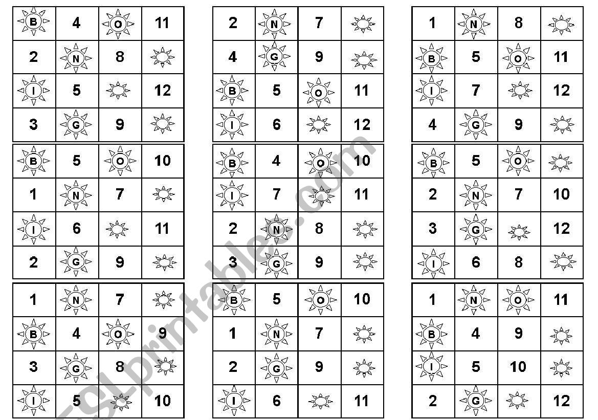 English Worksheets Bingo Numbers 1 12