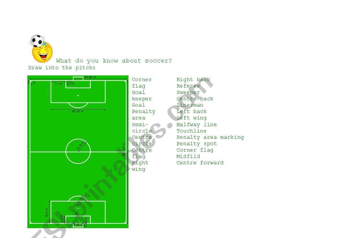 English Worksheets Soccer